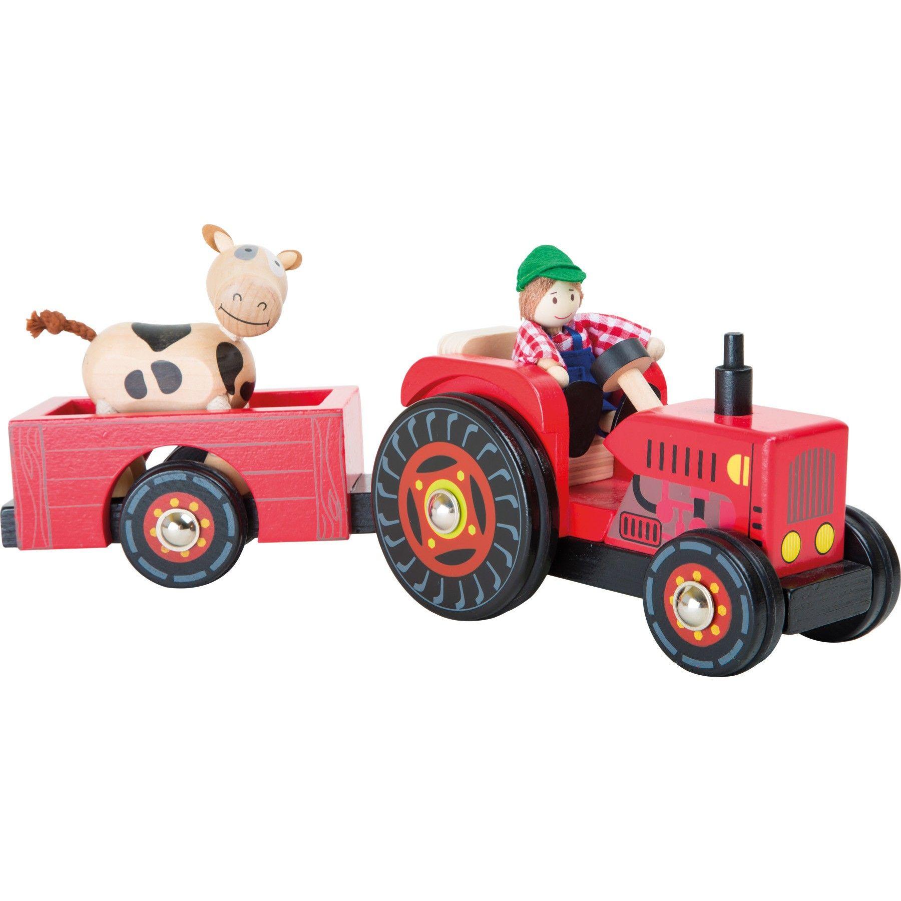 traktor mit anh nger bauernhof holzautos und holzlaster fahrzeuge aus holz. Black Bedroom Furniture Sets. Home Design Ideas