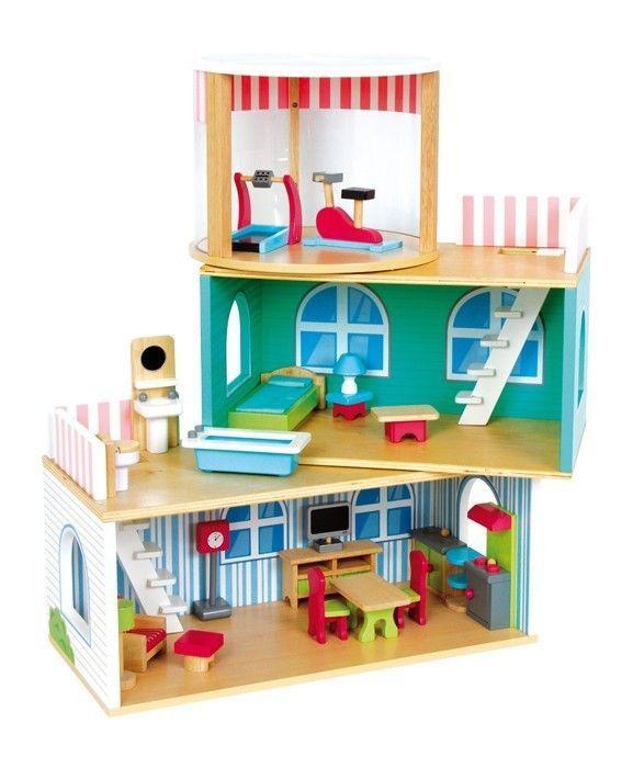 puppenhaus variabel holz puppen haus villa gro riesig. Black Bedroom Furniture Sets. Home Design Ideas