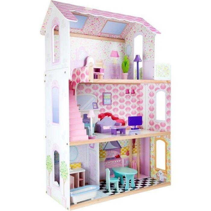 puppenhaus villa riesig m dchen puppen spielhaus holz rosa. Black Bedroom Furniture Sets. Home Design Ideas