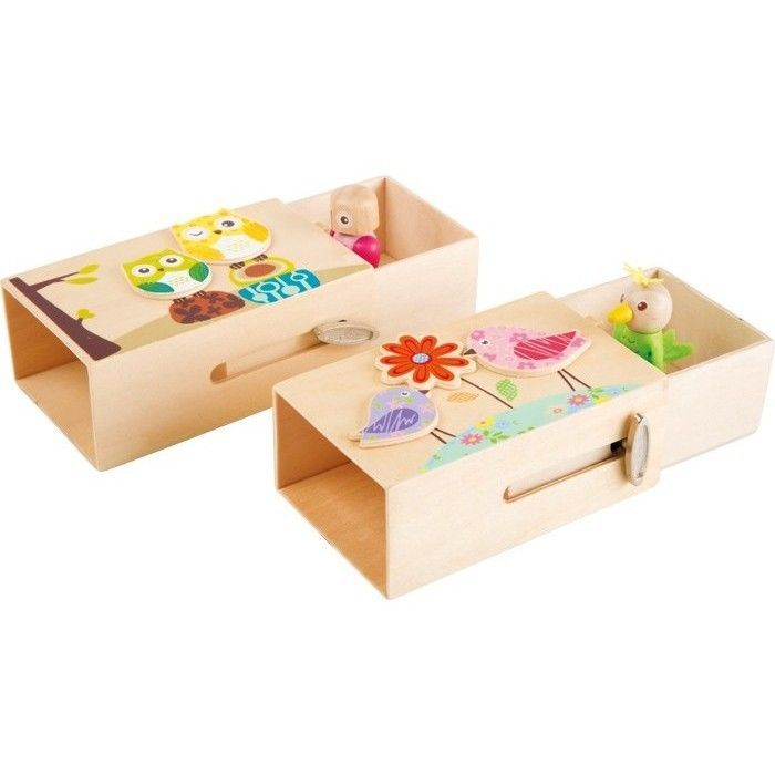 spieluhr holz tiere kinder musik uhr eule vogel tieruhr mit figur holzuhr bunt ebay. Black Bedroom Furniture Sets. Home Design Ideas