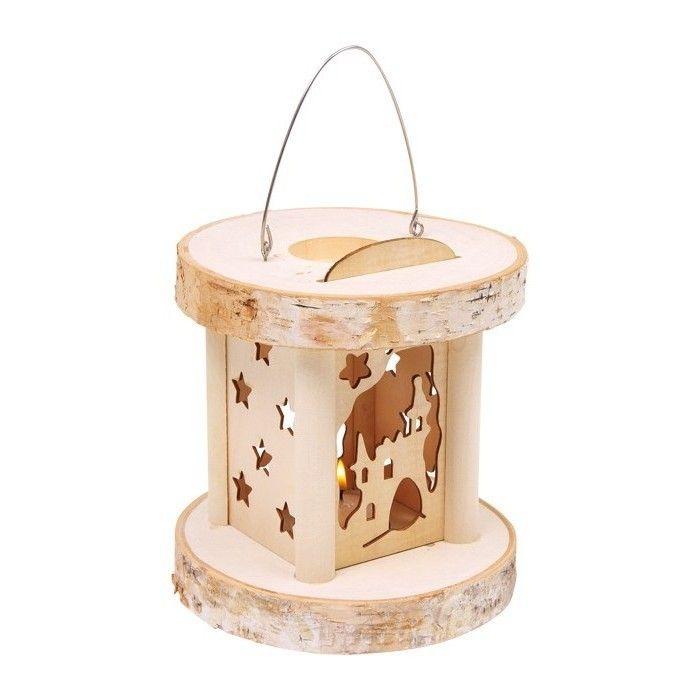 Laterne baumstamm holz scheiben weihnachten lampe teelicht deko dekoration natur ebay - Baumstamm deko laterne ...