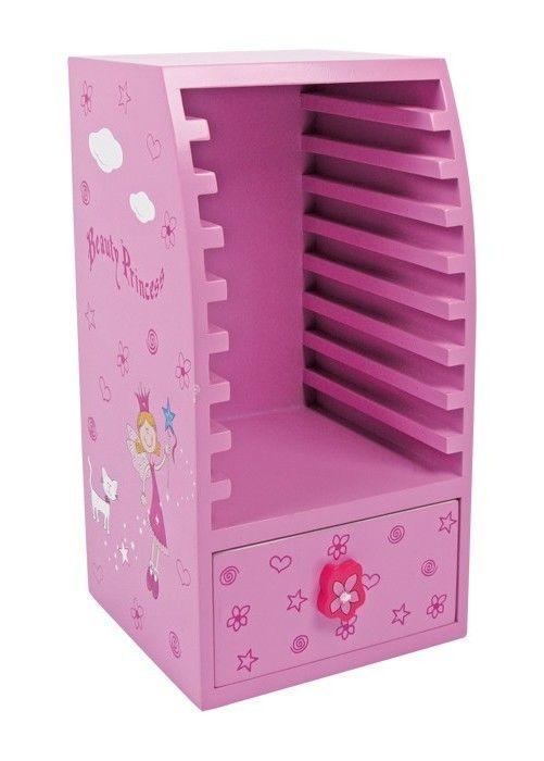 cd schrank beauty princess kinder m dchen regal pink rosa prinzessin holz ebay. Black Bedroom Furniture Sets. Home Design Ideas