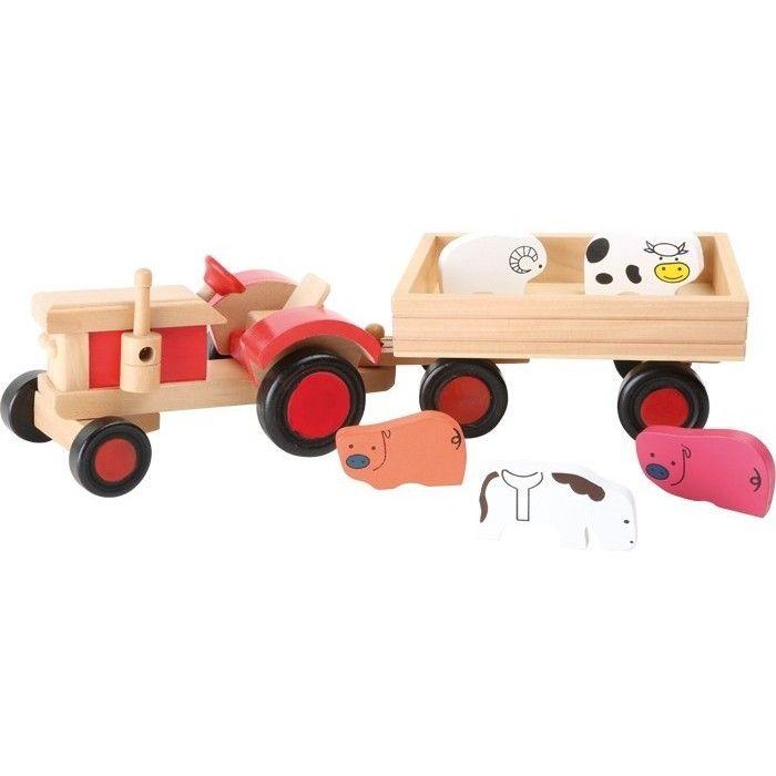 Holzspielzeug Traktor Tiere Holz Holztraktor Trekker Trecker Kinder Holzfahrzeug Bauernhof Bauernhof